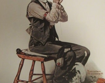 MAN Threading a NEEDLE/Norman Rockwell Post Cover Print/April 8, 1922/Unframed Book Print/11.5 x 15 in