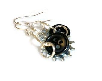 Starburst washer earrings, lock washer earrings, washer earrings, dangle, button earrings