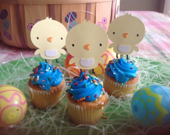 Yellow Chicks Easter Cupcake Toppers  - Pkg of 12