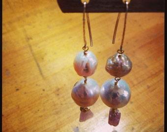 Huge Baroque Pear and Pink Topaz Earrings