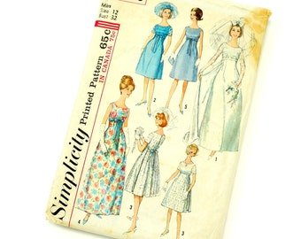 Vintage 1960s Simplicity Sewing Pattern 5872 / Womens Size 12 Bride, Bridesmaid or Evening Dress Two Lengths / bust 32 waist 25 / Complete
