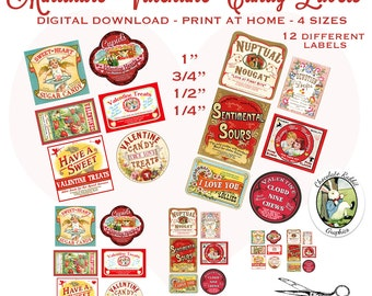 12 Vintage Style Miniature Dollhouse Valentine Candy Labels Digital Download Printable Clip Art Image Sheet 4 Sizes DIY
