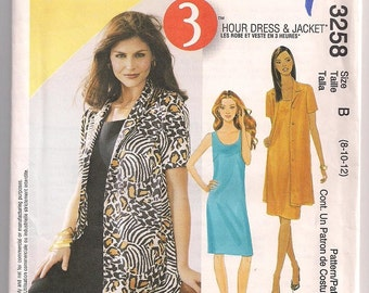 Dress and Jacket, McCalls 3258, Below Hip Jacket, Sleeveless Dress, Pullover Dress, 3 Hour Pattern, Easy to Sew, Office Wear, Misses 8 10 12