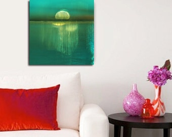 Abstract Moonrise Photo, Original Modern Art, Photo on paper or canvas,  fine art giclee, beautiful and zen, turquoise, teal, various sizes