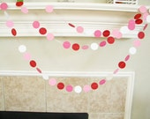 Valentine's Day Party Garland, Pinks Red White Paper Garland, Red Pink Wedding Decorations, Girl's Birthday Party Decor Prop