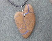 Boulder opal pendant necklace - large earthy love heart necklace -  handmade in Australia