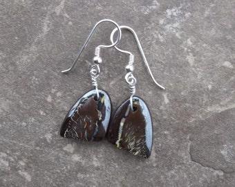 Boulder Opal earrings - magic in stone - handmade in Australia by NaturesArtMelbourne