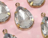 8 LARGE Teardrop Clear Crystal Rhinestone Resin Set Stones Faceted Drops 18mm x 13mm BRONZE Pronged Setting Jewelry Supplies Bulk Charms