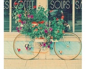 Bicycle Photography, Still Life Photo, Whimsical Summer Decor, Cottage Decor, Shabby Chic, Vintage Colors