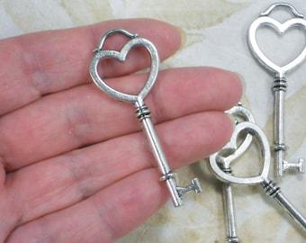 5 Keys Heart Theme Skeleton Pendants 54mm Tibetan Silver Tone Charms (P1807)