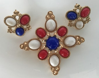 Old Glory Red White  & Blue Brooch and Clip on Earrings by Sarah Coventry
