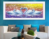 DIY 5d Round diamond Mosaic Painting Swans Love Forever Heart to Heart Rhinestones Embroidery Crystals Animals 121*50cm