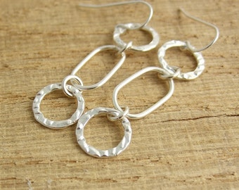 Earrings with Sterling Silver Textured Loops and Rounded Rectangular Loops CE-235