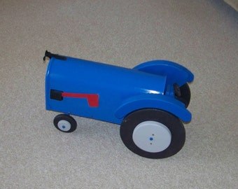Gray And Blue Tractor Mailbox