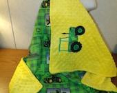Boys John Deere Green Cotton Yellow Minky Minkee Baby Blanket 30x35