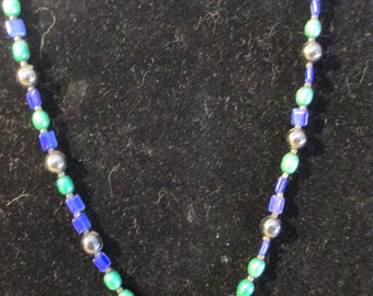 Necklace - Green/Blue with Beaded Focal Point N0070