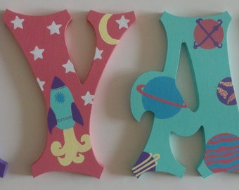 Outer Space Astronaut Wall letters for girls