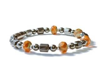 Magnetic Hematite Bracelet with Czech Glass Beads, Holistic Jewelry, Arthritis Relief