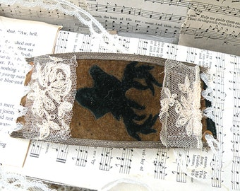 primitive fall textile stag cuff bracelet upcycle assemblage lace corset tie wide
