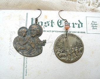 mismatch religious assemblage earrings tin medal dangle