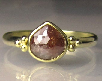 Rose Cut Diamond Ring, Engagement Ring in 18k Gold and 14k Gold