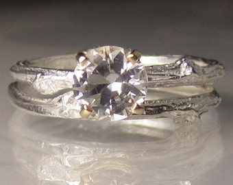 Herkimer Diamond Wedding Set, Sterling Silver and 14k Gold Twig Wedding Set