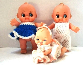 Vintage Kewpie Doll Family, Large, Mom Dad Baby, Handmade Knit Clothes, Cupid Cupie Kewtie, Baby Shower, Baby Package Decoration, Nursery
