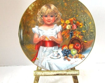 Vintage Childhood Almanac Collector Plate Indian Summer October Fall Harvest Flowers Hamilton Collection Sweet Gender Reveal Party Keepsake