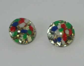 Mid century Lucite Confetti Earrings
