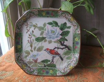 Beautiful Red Bird & Lotus Flower Floral Plate, Hexagon Shaped Transferware With Hand Painted Center, Unsigned