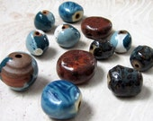 Assortment of Stoneware Beads in Shades of Teal Aqua White and Brown