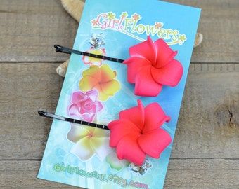 Hot Pink  Flower Bobby  Pins, 1 inch Flowers,   Flower Hair Pins, Plumeria
