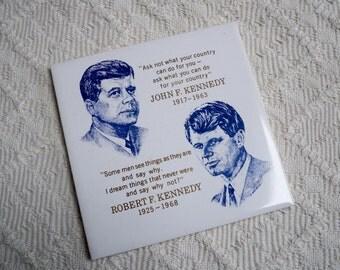 Vintage Collectible Memorabilia JFK and Robert Kennedy Tile