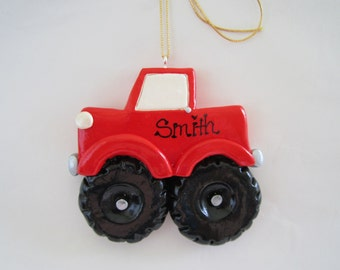Personalized Monster Truck Christmas Ornament