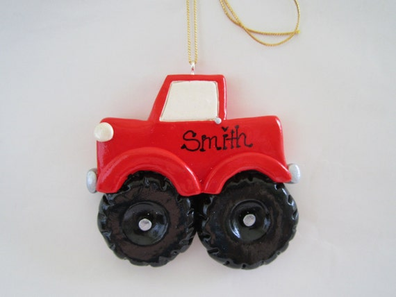 Large Toy Trucks For Boys : Personalized monster truck christmas ornament big wheels
