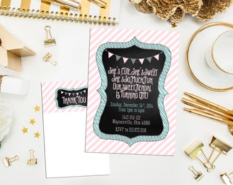 Chalkboard Party Invitations. Printable. Custom Chalkboard Birthday. Glitter First Birthday Invitations. Pink Bunting Birthday Invites.