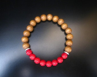 Red Coral Wood Bracelet, Wood Stretch Bracelet, Red Coral and Brown Wood Beads, Stacking Bracelet, Stone Stack Bracelet, Red Wood Bracelet