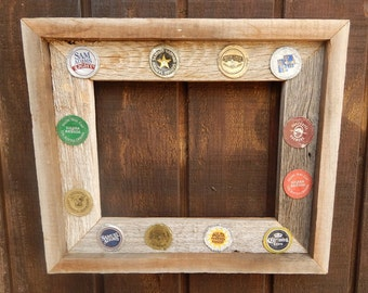 Reclaimed Wood Frame  --  Weathered Cedar Wooden Frame  --  Rustic Cedar Frame  --  Rustic Home  Decor  --  Beer Bottle Cap Frame