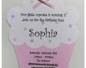10 Baby Pink Cupcake Birthday Invitations by Palm Beach Polkadots