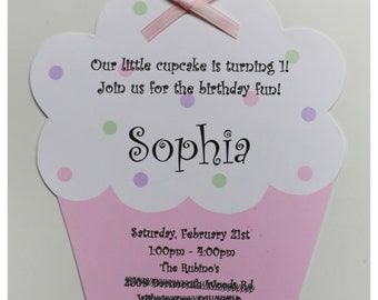 10 Baby Pink Cupcake Birthday Invitations by Palm Beach Polkadots