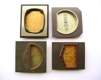 Japanese Pocket Door Pulls - Sliding Door Pulls - Vintage Door Pulls - Japanese Door Pulls  Set of 4 Square Rectangle (1E)