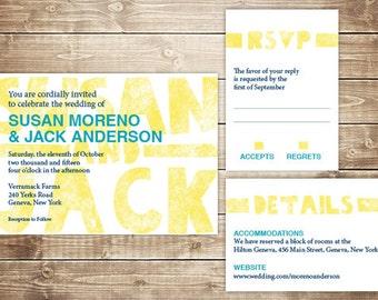 Printable Wedding Invitation Set - Invite, RSVP Card, Info Card - Wood Type