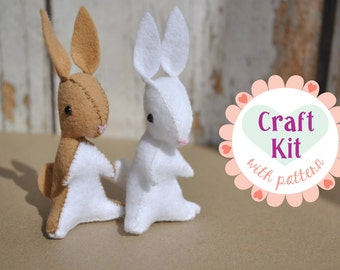 DIY Craft Kit - Felt Bunny Sewing Kit *Makes Two Felt Bunnies* Animal Pattern and Supplies