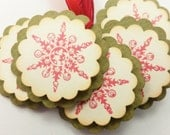 Christmas Tags Snowflake Tags Glitter Holiday Gift Set of 6