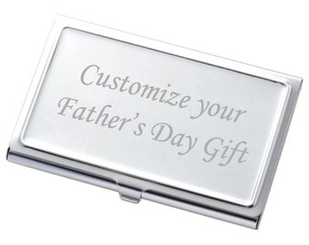 Chrome Business Card Case with raised Border edges and FREE engraving