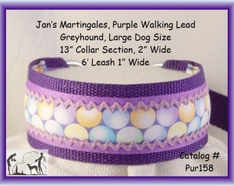 Jan's Martingales, Purple Walking Lead, Collar and Lead Combination, Greyhound, Large Dog Size, Pur158