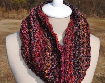 Red Multi Cowl, Soft Cowl, Crochet Cowl, Warm Cowl