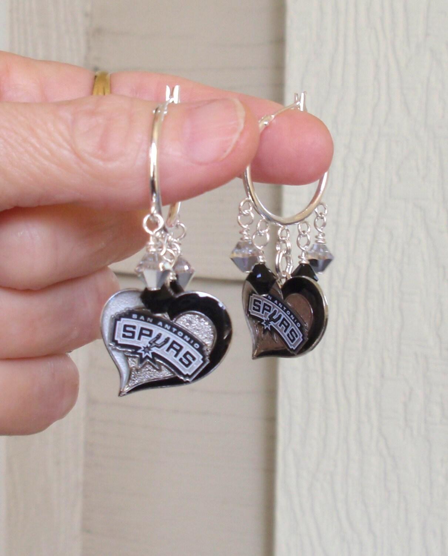 San Antonio Spurs Earrings Spurs Bling Silver And Black