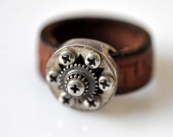 Seventh Double Star-Urban Wisdom-Silver and Leather-Unisex-Alternative-Star Of David-Magen David-Coin Ring-OOM-GB-Steampunk kabbalah-MJ