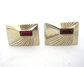 Vintage Cufflinks, Art Deco Gold tone Cuff Links with Red Stone